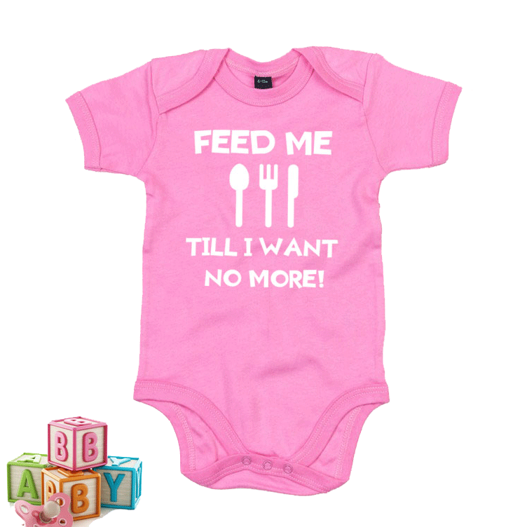 Feed me till i want no more - Welsh Baby Grow PINK