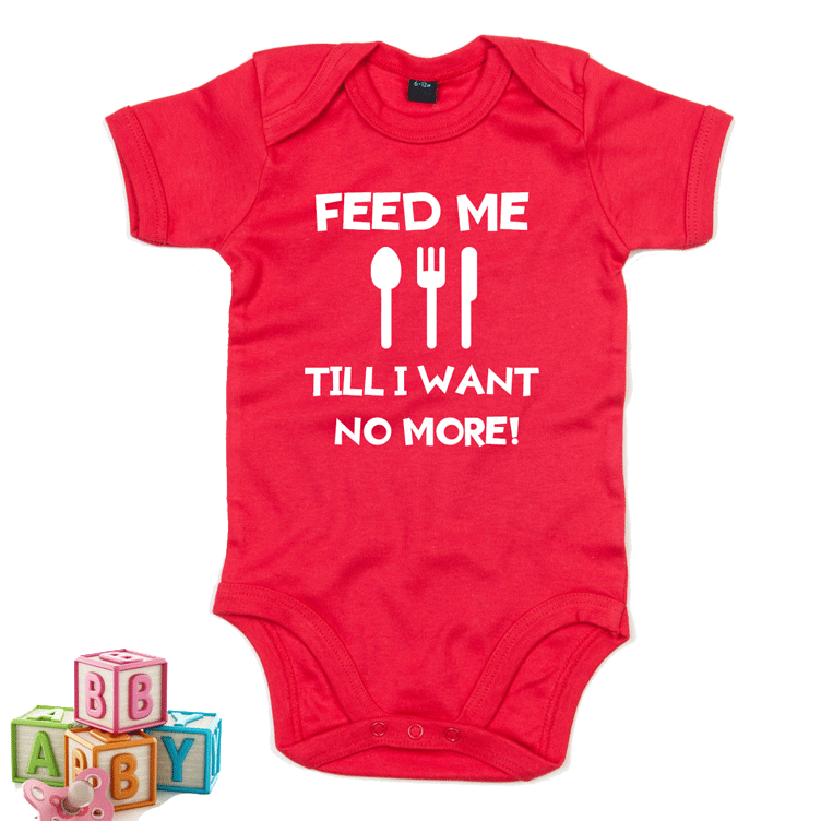 Feed me till i want no more - Welsh Baby Grow RED