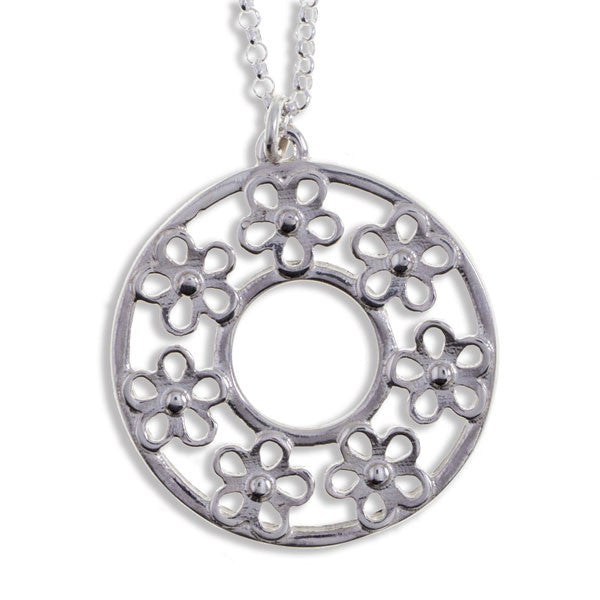 Flower circle pendant silver by St Justin (SP957)