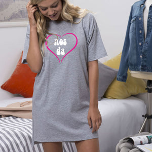 Girls Oversized sleepy T - Nos Da GREY