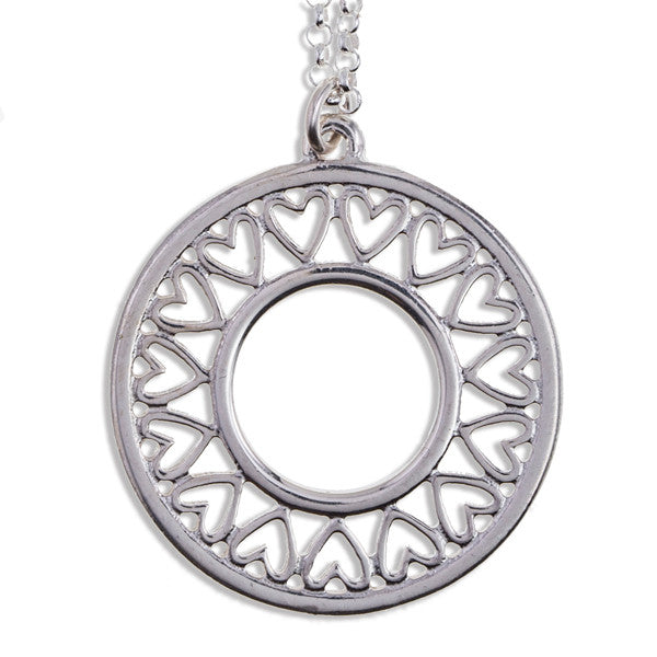 Heart circle pendant silver by St Justin