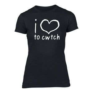 Welsh T Shirt - Womens 'i love to cwtch' - (Black)
