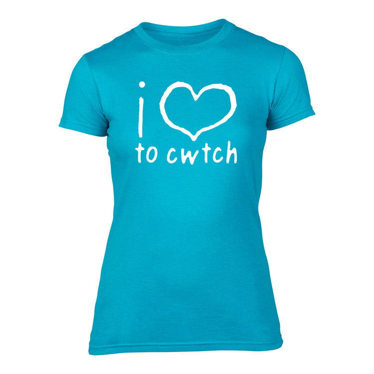 Welsh T Shirt - Womens 'i love to cwtch' - (Turquoise Blue)