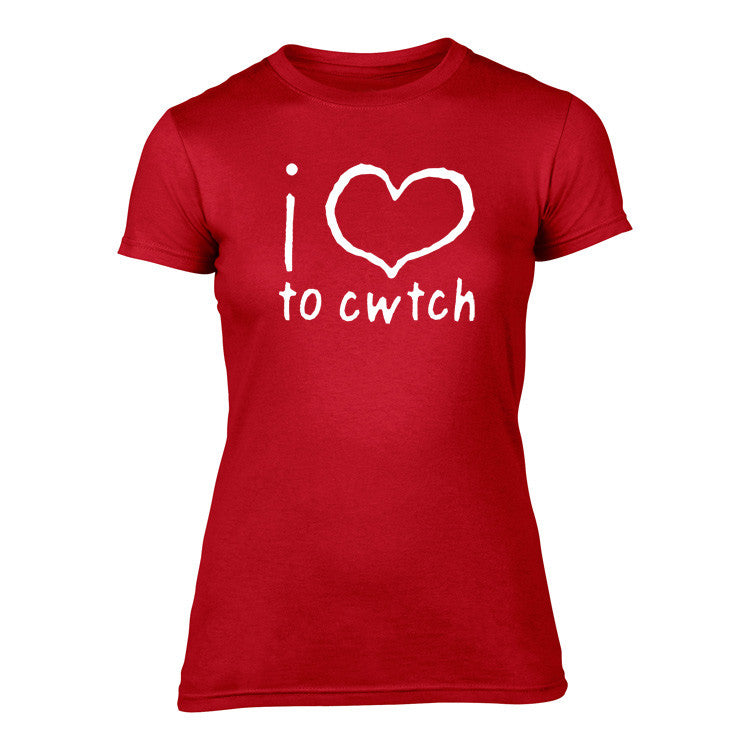 Welsh T Shirt - Womens - 'i love to' cwtch (Red)
