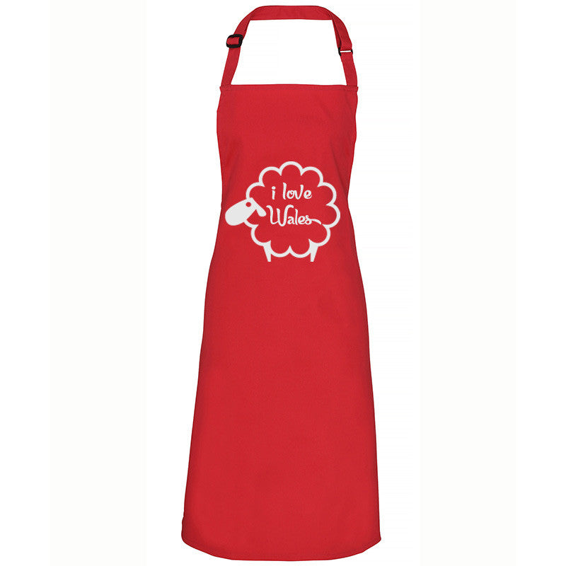 I Love Wales - Welsh Sheep Apron (Red)