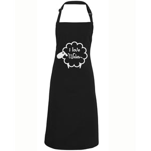 I Love Wales - Welsh Sheep Apron (Black)
