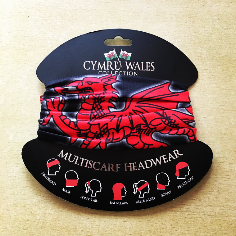 Welsh Dragon Buff Style head Scarf