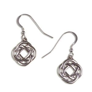 Square knot drop earrings – silver