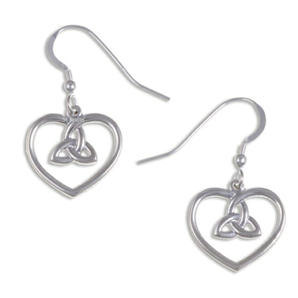 Heart earrings with 3 loop knot