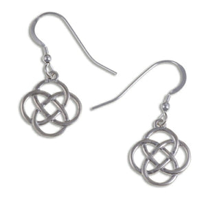 Four loop knot drop Silver Celtic earrings