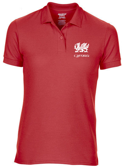 Welsh Dragon - Women's Slim Fit Polo Shirt (Red)