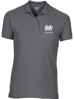 Welsh Dragon - Women's Slim Fit Polo Shirt (Charcoal)