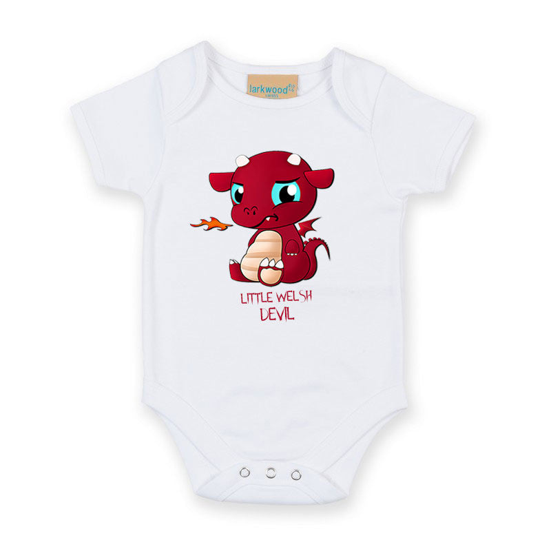 Little Welsh Devil - Wicked Babygrow (White)