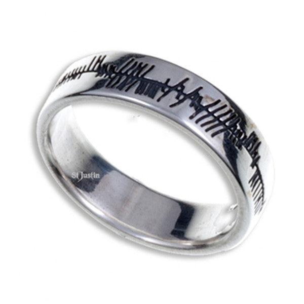 Ogham Silver love ring by St. Justin