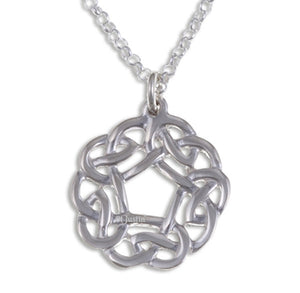 Pentagon knot pendant on a silver belcher chain.