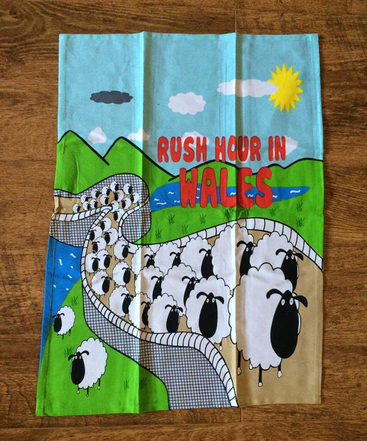 Rush Hour in Wales Sheep T-Towel