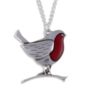 Robin on a branch Pendant - Pewter (PN875)