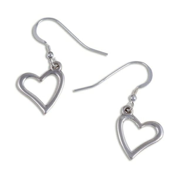 Open heart drop Silver earrings