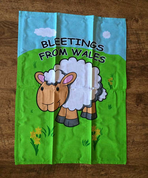 Bleetings From Wales - Sheep T-Towel