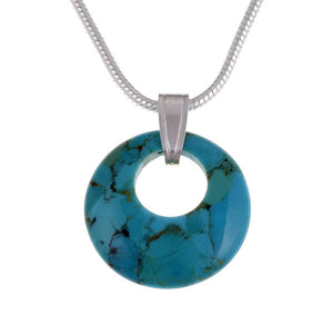 Silver Geo circlet pendant turquoise (SP300)
