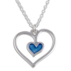 Blue heart Silver pendant by St Justin