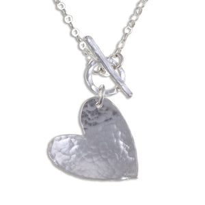 Hammered heart Silver pendant by St Justin