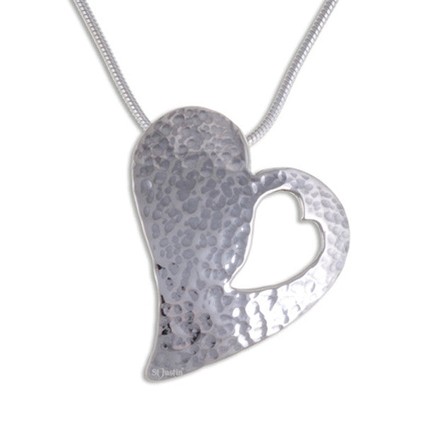 Cut-out hammered heart Silver pendant by St Justin