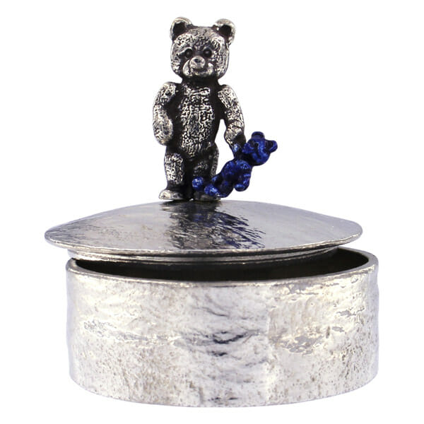 Teddy with blue baby teddy trinket box
