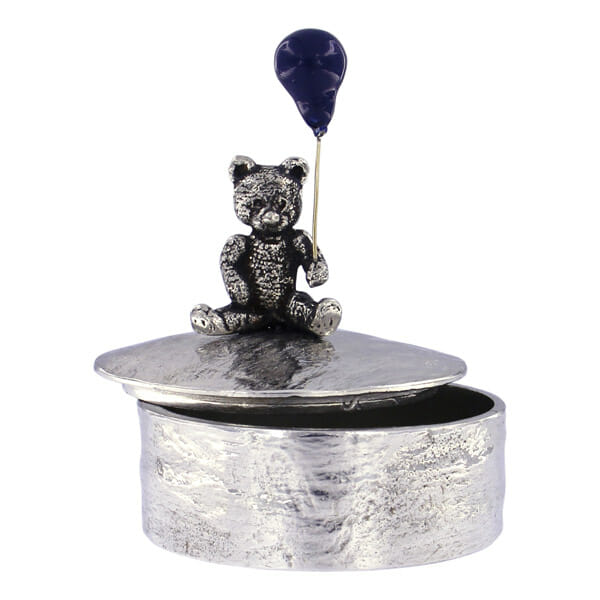 Teddy with blue balloon painted trinket box (SX102)