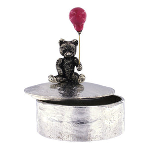 Teddy with pink balloon painted trinket box