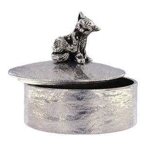Grooming cat trinket box