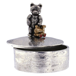 Teddy with painted toy train trinket box