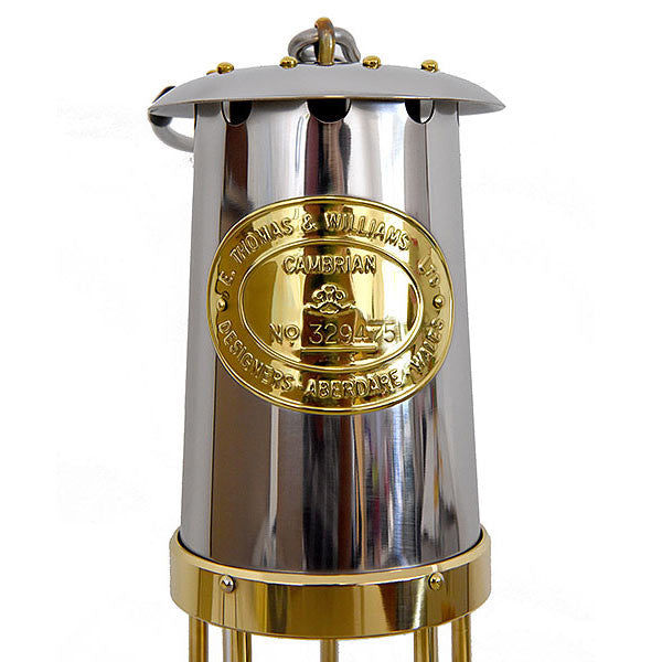 Authentic Replica Stainless Steel Miners Lamp - by E Thomas & Williams (Steel Top)
