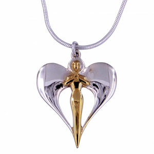 Silver Angel pendant with gold plating