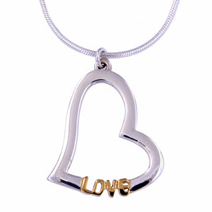 Silver heart love pendant with gold plating