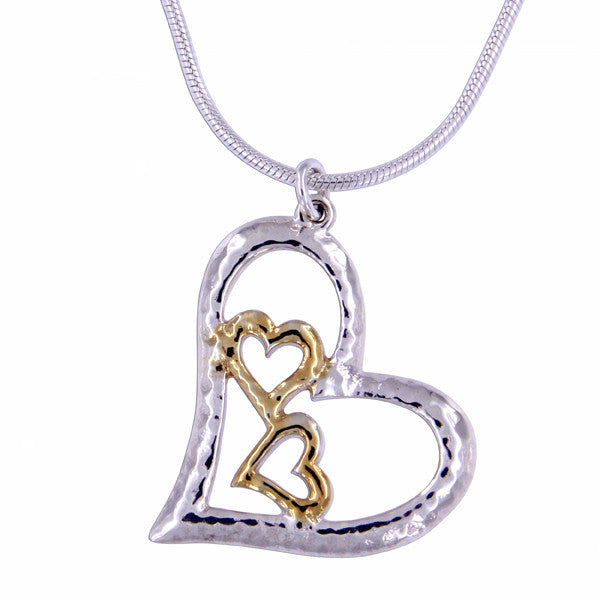 Silver three hearts pendant with gold plating