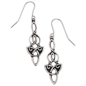 Dragon knot drop earrings - Pewter (PE691)