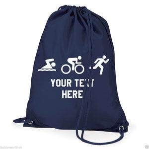 Swim Bike Run Triathlon Logo- Personalised Duffel Bag - NAVY