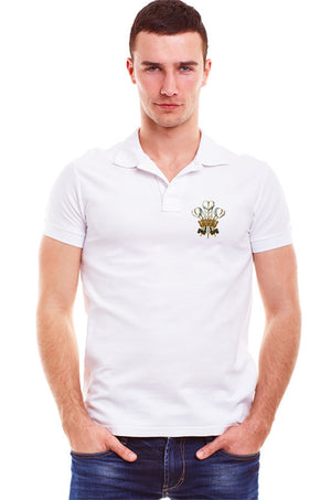 Traditional Welsh Feathers -Casual Polo Shirt (White)