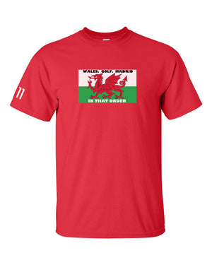 Wales Golf Madrid BALE Welsh Flag Euro Football 2020 T Shirt RED