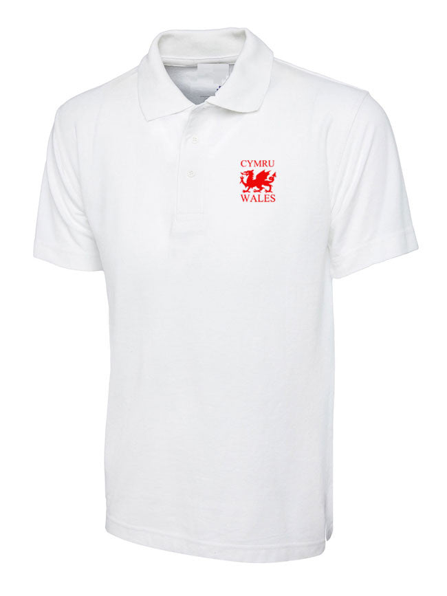 Welsh Dragon - Casual Polo Shirt (White)