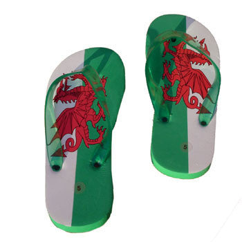 Welsh Flag Flip Flops - Adult