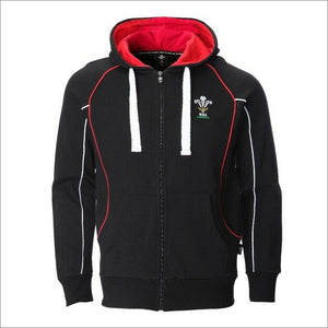 Official WRU Welsh Black Full Zip Hoody