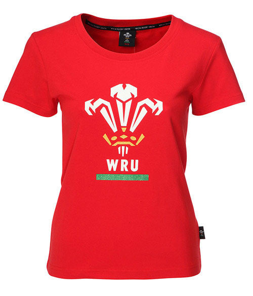 WRU T-Shirt - Womens Printed Welsh Feathers