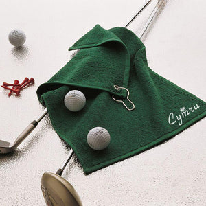 Luxury Range Welsh Golf Towel - GREEN