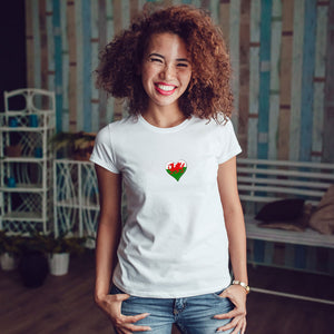 Welsh Flag Heart - Ladies T-Shirt