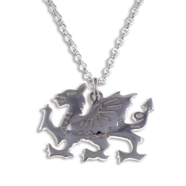 Welsh dragon pendant SILVER