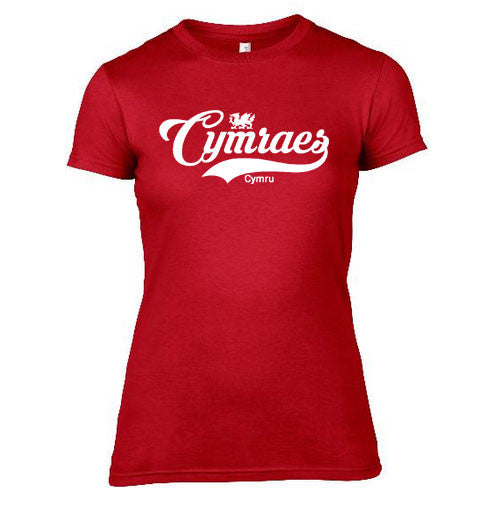 Womens Vintage Cymraes Welsh T-Shirt - Red