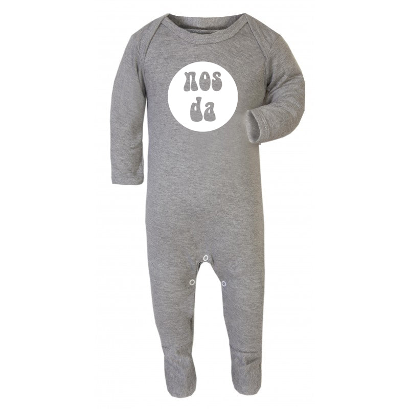 Nos da - Welsh Baby Romper Suit GREY