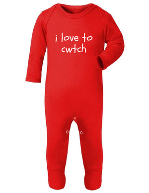 i love to cwtch - Welsh Baby Sleep Suit